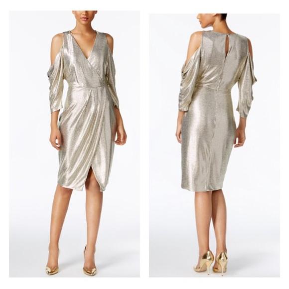 6247f8d59a1 Rachel Roy Cold-Shoulder Metallic Wrap Dress NWT